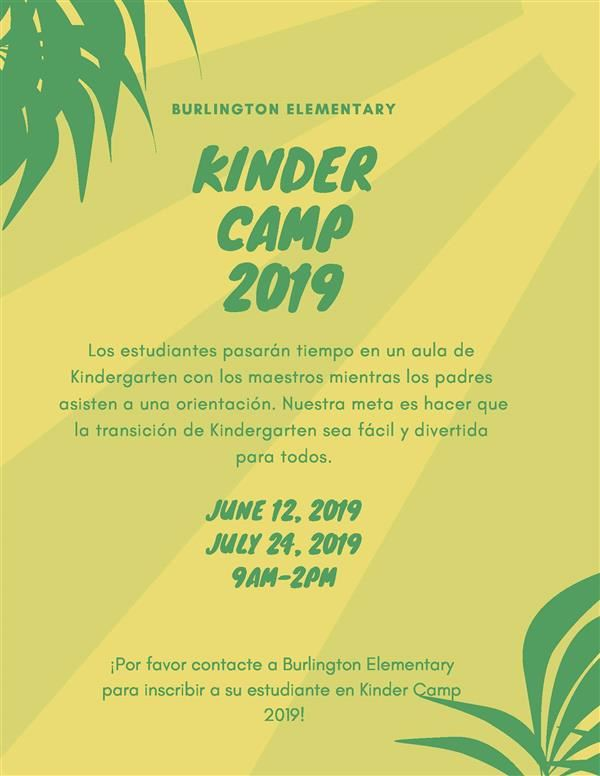 Kinder Camp, June 12th  or June 24th, 9:00 am - 2:00 pm