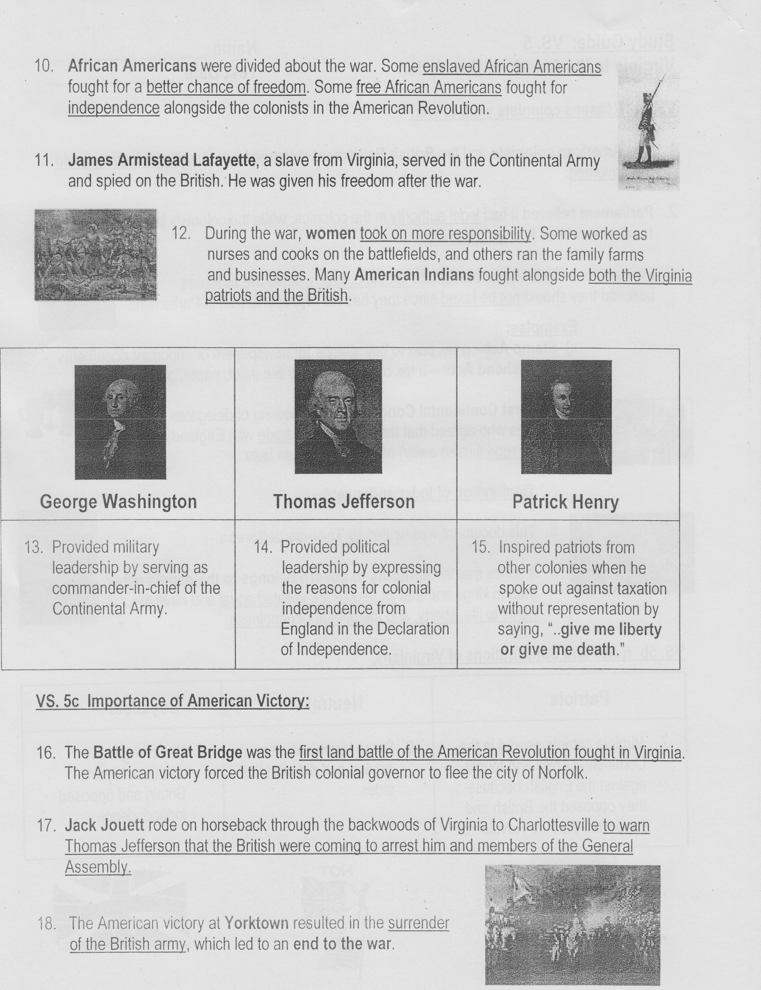4th Grade Homework / VA Studies Guides and Notes