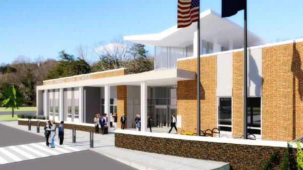 Artists rendering of the new front entrance