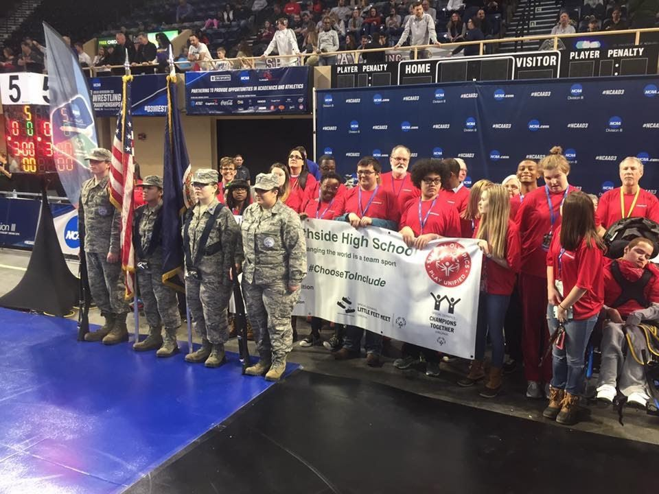 Northside High School unified team joined the WFHS AFJROTC to open the NCAA Division III wrestling national championship at the Berglund Center today!